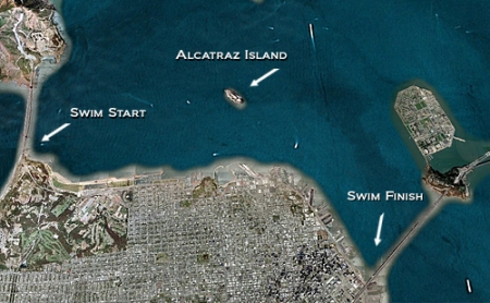 Map. First we had to swim towards Alcatraz. Then we hug the coast.